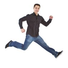 Free Young Fresh Happy Man Jumping Royalty Free Stock Photo - 17514055