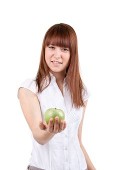 Free The Girl With Apple Stock Photography - 17514222