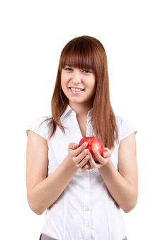 Free The Girl With Apple Stock Photography - 17514242