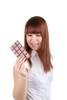 Free The Girl With A Chocolate Stock Photography - 17514302