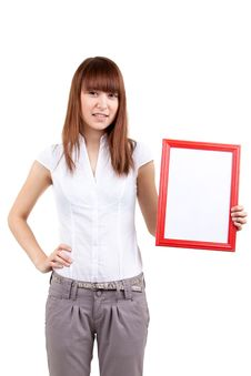 Free The Girl With An Empty Framework Stock Photography - 17514352