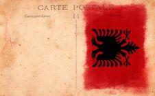 Free Old Vintage Grunge Postcard Albania Flag Stock Photos - 17514423