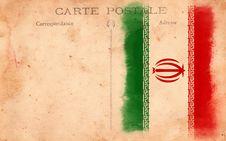 Free Old Vintage Grunge Postcard Iran Flag Royalty Free Stock Images - 17514779