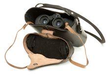 Old Black Binoculars Stock Photo