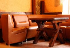 Free Leather Sofa And Wooden Table Stock Photography - 17515662
