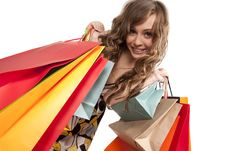 Free Young Woman Admiring Her Shopping Royalty Free Stock Images - 17515759