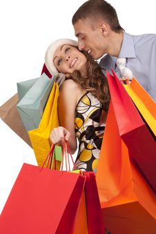 Free Lovely Couple Making Christmas Shopping Royalty Free Stock Images - 17515769