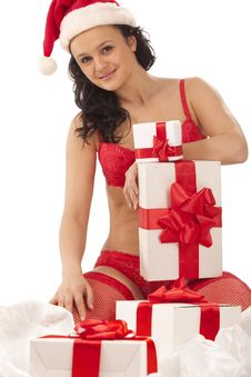 Free Smiling Girl With Gift Boxes Royalty Free Stock Photo - 17515775