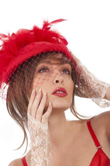 Free Sexy Woman In Red Hat With Net Veil Royalty Free Stock Photos - 17515808