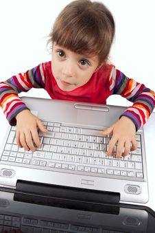 Free Little Girl With A Laptop Royalty Free Stock Images - 17515849