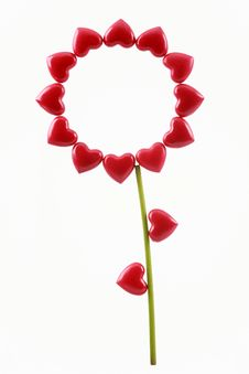 Free Celebratory Flower From Red Hearts Royalty Free Stock Photo - 17516095