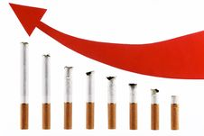 Free Cigarettes With An Arrow In The Form Of The Diagra Stock Images - 17516114