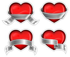 Free Hearts With Ribbom On White Stock Photo - 17516150