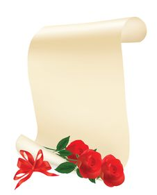 Free Roll Of Paper With Red Roses On A White Background Royalty Free Stock Photos - 17517198