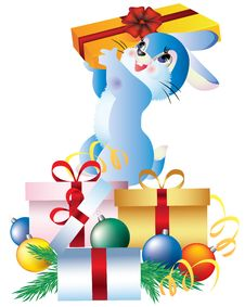 Free Rabbit With Gifts. Stock Photos - 17517203