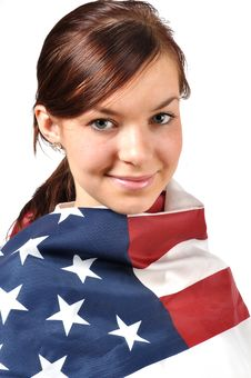 Free Girl Wrapped In American Flag Stock Images - 17518364