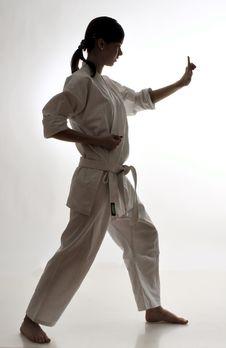 Girl Practicing Karate Royalty Free Stock Photo