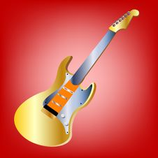Free Guitar On Red Background Stock Images - 17519304