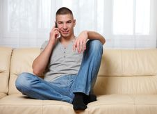 Free Young Handsome Man Making A Call At Home Royalty Free Stock Photo - 17519575