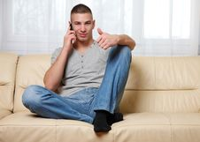 Free Young Successful Man Making A Call Stock Photo - 17519590