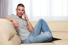 Free Young Handsome Man Making A Call Royalty Free Stock Photography - 17519647