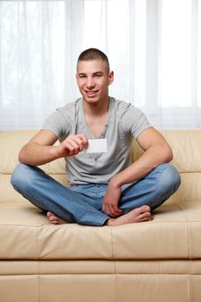 Free Young Man Holding A Blank Businesscard Stock Image - 17519781