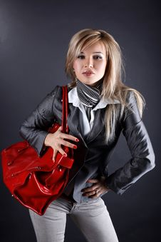 Woman With Red Bag Stock Photos
