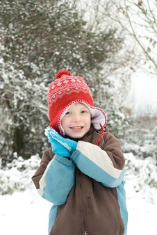 Free Boy In The Snowfall. Royalty Free Stock Images - 17519809