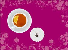 Free Cup Of Tea With Candy On Floral Background Stock Image - 17520011
