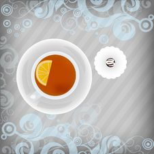 Free Cup Of Tea With Candy On Floral Background Royalty Free Stock Photo - 17520025