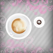 Free Cup Of Coffee With Candy On Floral Background Royalty Free Stock Photos - 17520038