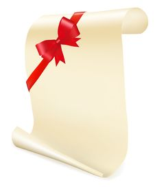 Free Greeting Scroll With Red Bow. Royalty Free Stock Images - 17520219