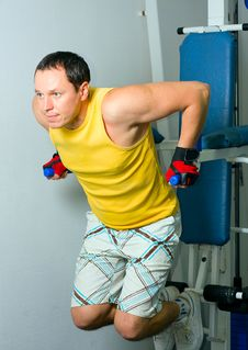 Man Training In Fitness Center Stock Images
