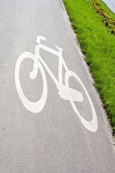 Free Bike Path In City With Sign Stock Image - 17520381