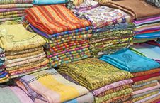 Free Fabrics At A Market Stall Stock Photos - 17521443