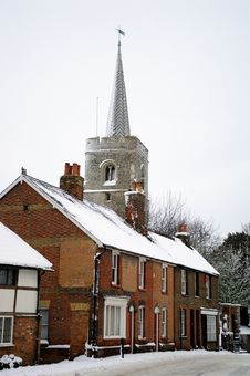Free English Village Snow Covered Stock Photos - 17522283