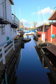 Alley, Between Floating Houses. Stock Photos