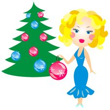 Free Vector Blonde Decorated With Christmas Tree Royalty Free Stock Photography - 17522787