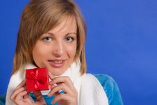 Young  Woman With A Gift Stock Photos
