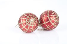 Free Two Red Christmas Baubles Stock Photography - 17523382