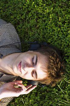 Boy In Headphones Stock Photo