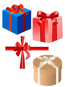 Free Set Of Gift Boxes Royalty Free Stock Photos - 17528208