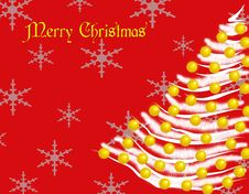 Free Merry Christmas_White Tree Card Royalty Free Stock Image - 17528236