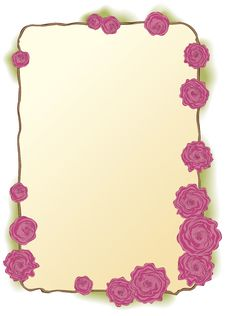 Vector Frame Of Lush Pink Roses Stock Image