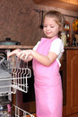 Free Girl Taken Clear Glass From Dishwasher Royalty Free Stock Photo - 17538245