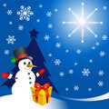 Free Snowman With Gift Vector Stock Image - 17539201