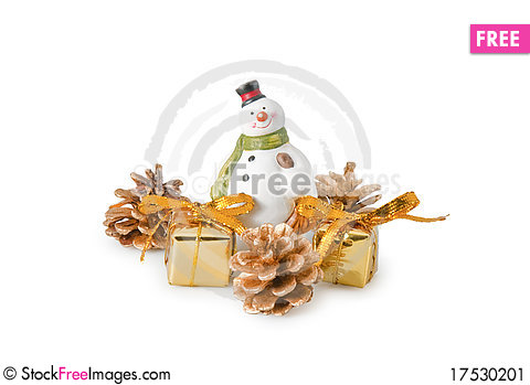 Free Snowman Figurine With Gifts Stock Image - 17530201