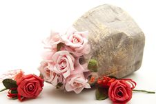 Free Roses In The Stone Vase Royalty Free Stock Image - 17531426