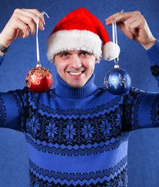 Free Man In Christmas Hat Stock Photography - 17531482