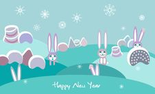Free Winter Landscape With Rabbits Stock Photo - 17531760